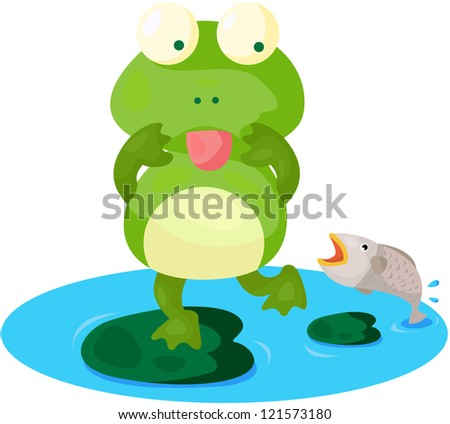 illustration of isolated cute frog on white background - stock photo