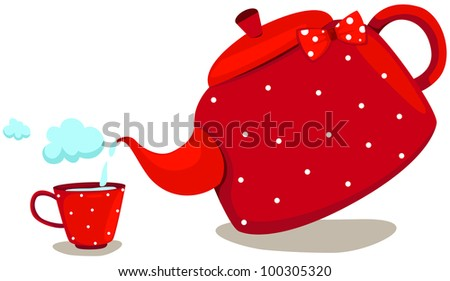 illustration of isolated cute pot with cup