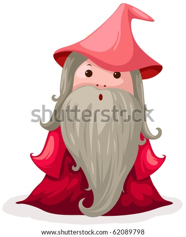 illustration of isolated cute wizard on white background - stock photo