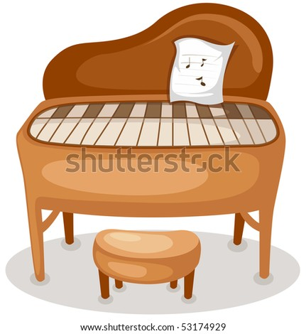 illustration of isolated grand piano  on white background