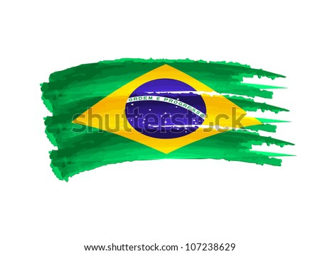 Illustration of Isolated hand drawn Brazilian flag