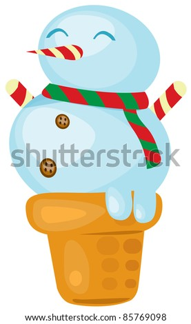illustration of isolated ice cream snowman on white