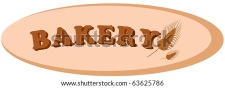 illustration of isolated label bakery on white background