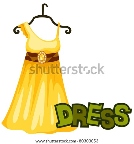 illustration of isolated letter of  dress on white  background