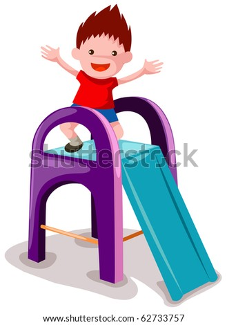 illustration of isolated little boy playing on the slide