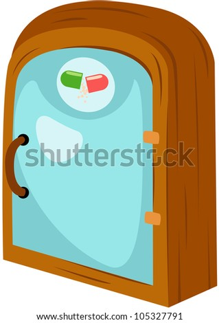 illustration of isolated medicine cabinet on white
