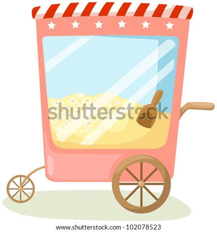 illustration of isolated popcorn cart on white background
