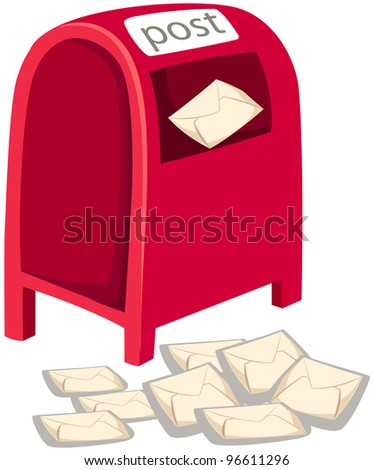 illustration of isolated post box on white background