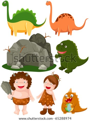 illustration of isolated set of dinosaurs and caveman on white