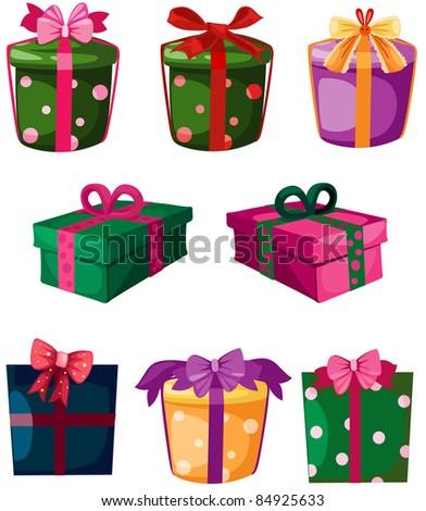 illustration of isolated set of gift box on white background