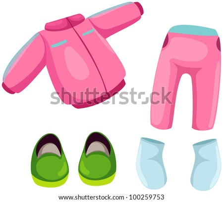 illustration of isolated set of kids sport were on white