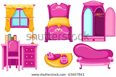 illustration of isolated set of pink furniture on white background