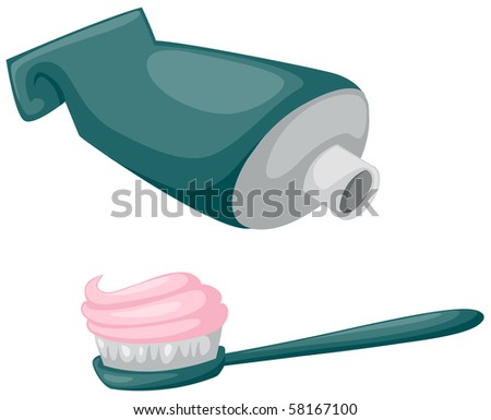 illustration of isolated toothbrush with toothpaste and tube