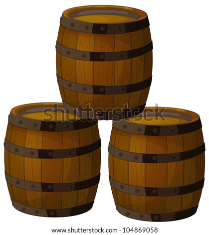 Illustration of isolated wooden barrels -
