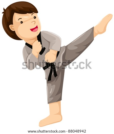 illustration of isolated young boy karate player on white
