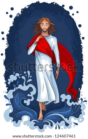 Illustration of Jesus walking on water. Christian background. Raster version