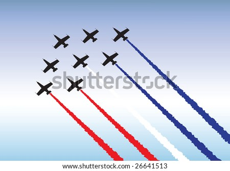 Illustration of jets flying in formation. Available as either vector or .jpg - stock photo