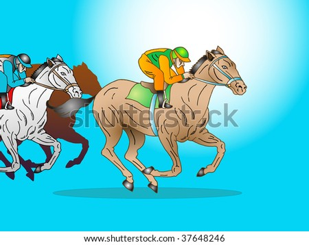 illustration of jockey riding his  horse in a tournament race