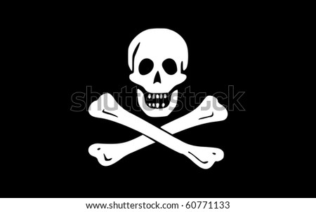 Illustration of jolly roger or skull and cross bones pirate flag. - stock photo