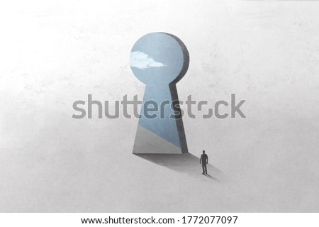 illustration of key hole shape door, optical illusion surreal concept