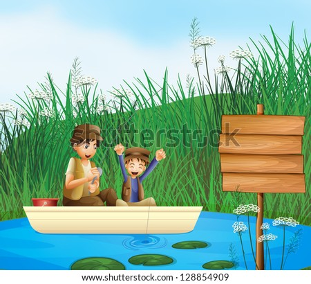 Illustration of kids catching fish in a river and a notice board