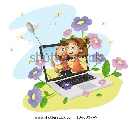 Illustration of kids coming out of computer