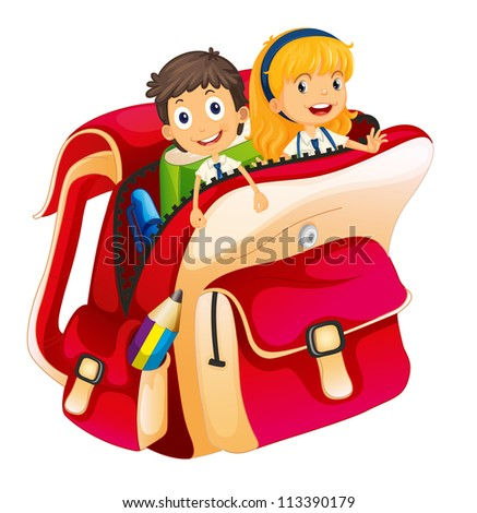 illustration of kids in a bag on white