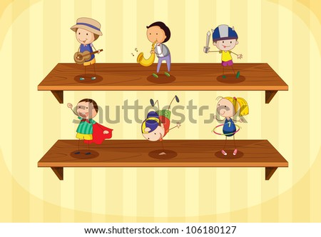 Illustration of kids on a shelf