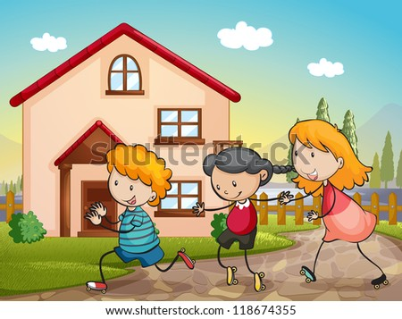 illustration of kids playing infront of a house