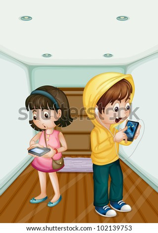 Illustration of kids using mobile technology - EPS VECTOR format also available in my portfolio.