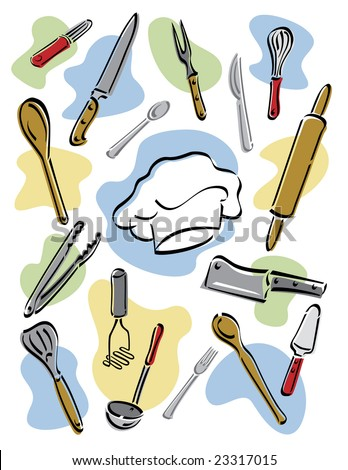Illustration of kitchen utensils surrounding a chef's hat. Vector also available.
