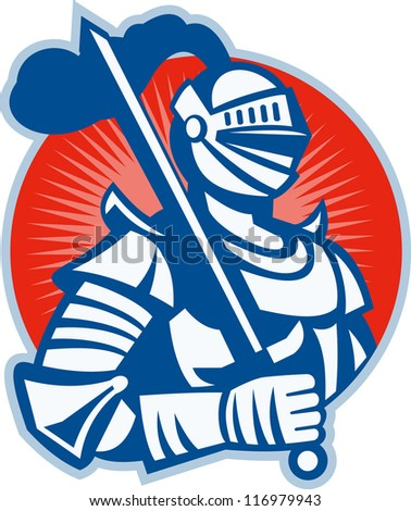 Illustration of knight in full armor with sword set inside circle done in retro woodcut style.