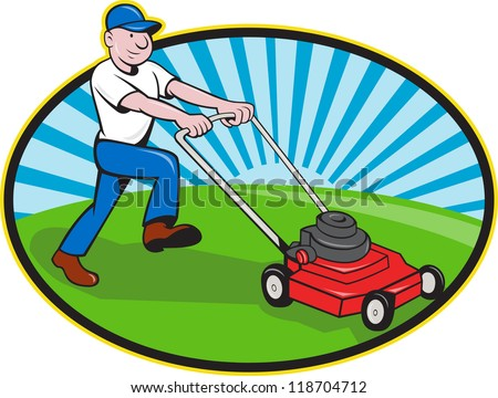 Illustration of landscaper gardener pushing lawn mower smiling facing side done in cartoon style on isolated white background.