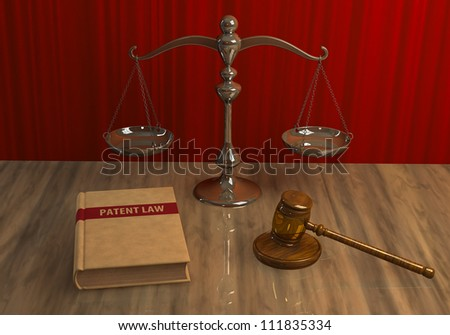 Illustration of legal attributes: gavel, scale and patent law book on the table
