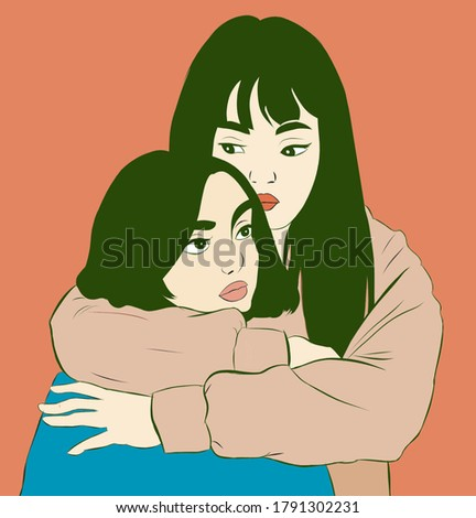 Illustration of lesbian couple.Digital art.