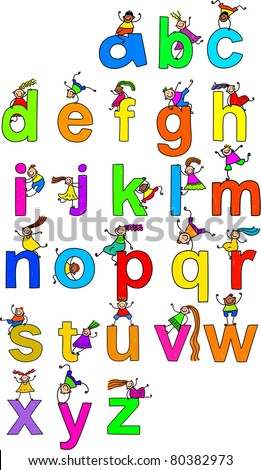 Illustration of letters of the alphabet in lowercase form with little boys and girls climbing over each character.