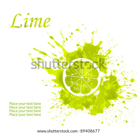 illustration of Lime in a spray of juice around in watercolor technique on a white background - stock photo