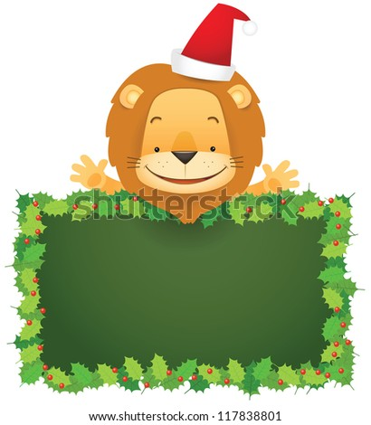 Illustration of Lino the Lion and Christmas Banner