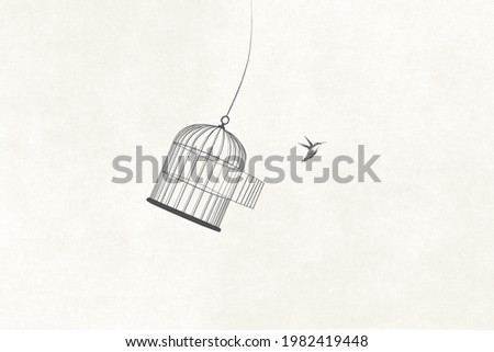 illustration of little bird flying out of open birdcage, surreal freedom motivational concept Foto stock ©
