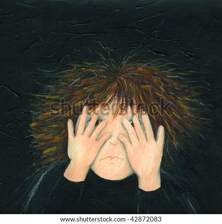 Illustration of little boy afraid