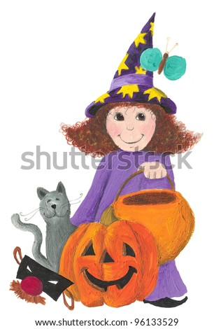 Illustration of Little Halloween witch, cat and pumpkin