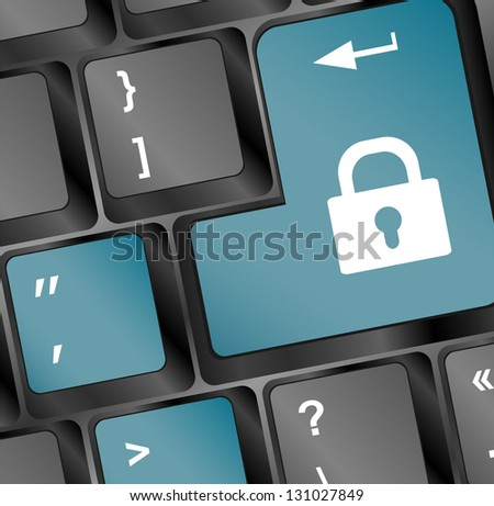 illustration of lock concept button on keyboard, raster