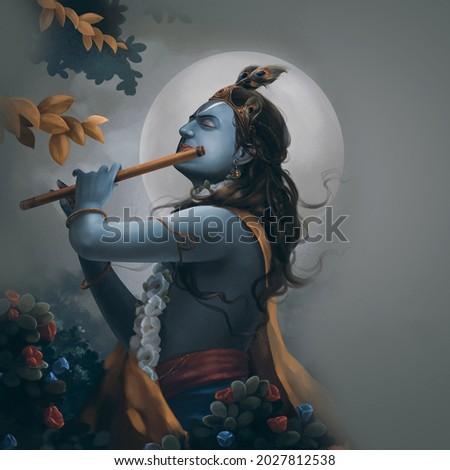 illustration of Lord Krishna in Happy Janmashtami festival of India