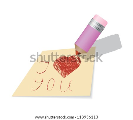 Illustration of love you paper note with heart
