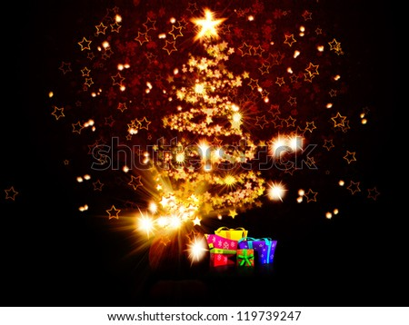 Illustration of magic glowing Christmas tree made of stars background.