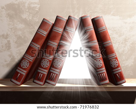 Illustration of magical books on a mysterious bookshelf - stock photo