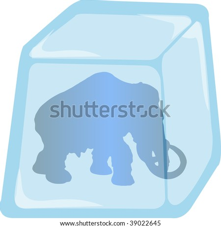 Illustration of Mammoth silhouette enclosed in Ice cube