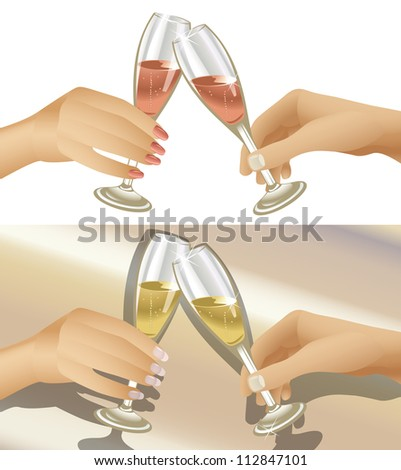 Illustration of man and woman clinking champagne flutes. Two variations