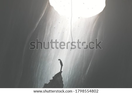 illustration of man finding a way to get out of darkness, help from the sky, surreal concept