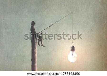illustration of man fishing new ideas, creativity surreal concept Foto d'archivio ©